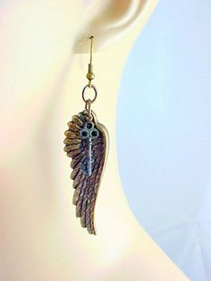 Steampunk Lock and Key Wings Pierced Earrings by Beetique on Etsy, $18.99