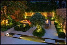 Patio,Convivial Town garden by Charlotte Rowe Garden Design Back Gardens, Small Gardens, Outdoor Gardens, Backyard Lighting, Outdoor Lighting, Lighting Ideas, Modern Landscaping, Outdoor Landscaping, Landscape Lighting Design