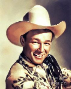 Painting - Roy Rogers, Vintage Actor by Esoterica Art Agency , Cowboy Up, Cowboy Hats, Realistic Animal Drawings, Dale Evans, Cute Piglets, Actor John, Roy Rogers, Happy Trails, Western Movies
