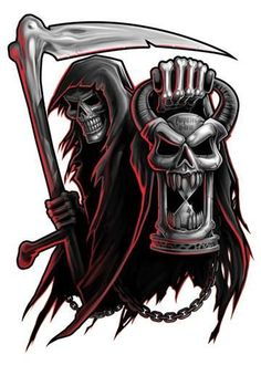 Black and Red Temporary Tattoo Set - Street Inspired Black and Red Tattoo Series A black and grey Hispanic tattoo series with just a - Tatuaje Grim Reaper, Grim Reaper Art, Grim Reaper Tattoo, Evil Skull Tattoo, Skull Tattoos, Body Art Tattoos, Frases Para Tattoo, Tattoo Studio, Fantasy Artwork