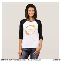 ILLINOIS USA Total Solar Eclipse August 21 2017 T-Shirt - Fashionable Women's Shirts By Creative Talented Graphic Designers - #shirts #tshirts #fashion #apparel #clothes #clothing #design #designer #fashiondesigner #style #trends #bargain #sale #shopping - Comfy casual and loose fitting long-sleeve heavyweight shirt is stylish and warm addition to anyone's wardrobe - This design is made from 6.0 oz pre-shrunk 100% cotton it wears well on anyone - The garment is double-needle stitched at the…