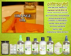 Orange Oil Product Collection - A strong aroma of a thousand pressed orange peels. #OverSoyed #OrangeOil #Citrus #Citrusy #Candles #HomeFragrance #BathandBody #Beauty