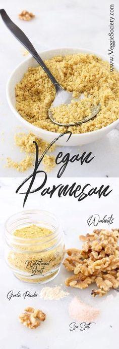Best Vegan Parmesan Cheese Recipe with Walnuts and Nutritional Yeast   VeggieSociety.com #vegan #plantbased #cheese Recipes With Parmesan Cheese, Vegan Parmesan Cheese, Cheese Recipes, Coconut Milk Nutrition, Vegan Nutrition, Proper Nutrition, Broccoli Nutrition, Cheese Nutrition, Contouring