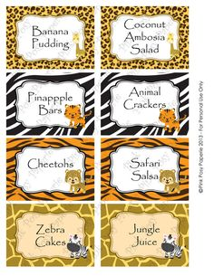 Printable Safari Baby Shower Food Labels by PinkPosyPaperie Jungle Theme Birthday, Baby Birthday, 1st Birthday Parties, Birthday Ideas, Safari Party, Safari Food, Jungle Party, Lion King Baby Shower, Baby Boy Shower
