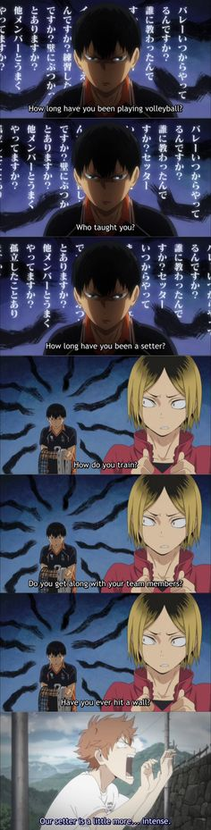 HAHAHA !!! Kageyama is so funny !!!! Poor kenma !! :3 #haikyuu