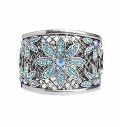 Lilly Rocket Blue Rhinestone Flower Graduated Bracelet Cuff Bangle Lilly Rocket. $20.00