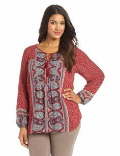 Lucky Brand Women's Plus-Size Kat Mixed Print Top #plussize #fashion #women #clothes