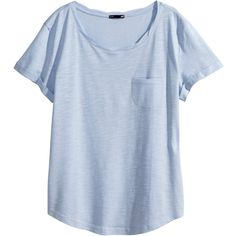 H&M Jersey top ($12) ❤ liked on Polyvore featuring tops, t-shirts, shirts, blusas, blue tee, blue shirt, twisted tees, blue top and blue t shirt