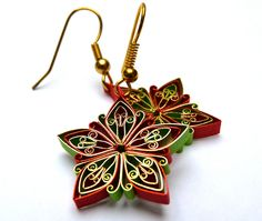 Christmas earrings Ecofriendly quilled by VBPureDesigns on Etsy