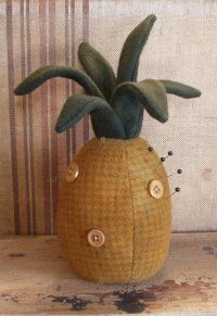 Cottonwood Creations Pineapple pin keep The Pattern Hutch wool pincushion cloth doll craft pattern Embroidery Floss Projects, Pineapple Pattern, Pineapple Quilt, Walnut Shell, Needle Book, Thread Spools, Penny Rugs, Wood Creations, Sewing Accessories
