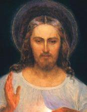 close up of original Divine Mercy image