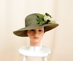 Olive Green Hat * Floral Hat * Kentucky Derby Hat * Hydrangea Hat * Wide Brim Hat * Church Hat * Spring Hat * Formal Hat * Fashion Hat by englishrosedesignsoh on Etsy