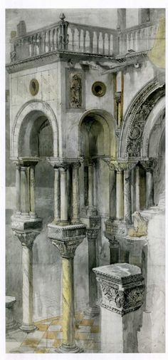 South side of the Basilica St. Mark, by John Ruskin, c.1851