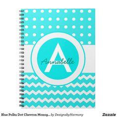 Blue Polka Dot Chevron Monogram Personalized Spiral Notebook