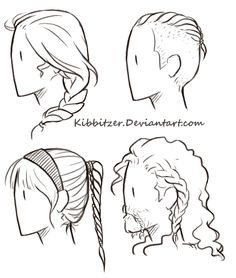 Braids Reference Sheet by Kibbitzer on DeviantArt - Somebody asked me to draw a short-hair reference sheet! Feel free to use it for your studies! Drawing Poses, Drawing Tips, Drawing Tutorials, Art Tutorials, Braid Drawing, Drawing Ideas, Art Reference Poses, Design Reference, Drawing Reference