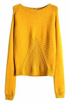 Asymmetric Striped Loose Yellow Sweater