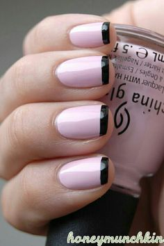 Pink french manicure with black tips