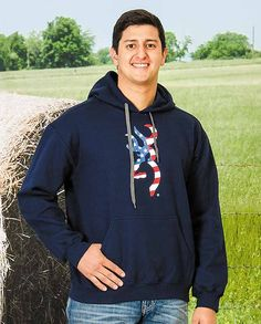 Browning Men's Navy Old Glory Buckmark Logo Hoodie patriotic USA U.S.A. flag red white and blue gifts for hunters and outdoorsmen hunting shotgun deer elk white tail drawstring hood with kangaroo pocket #Fall2015