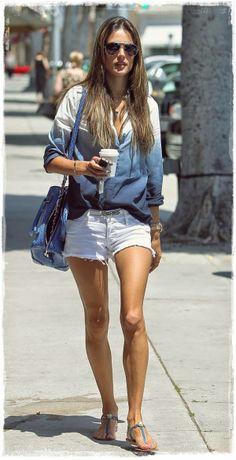 Alessandra Ambrosio Street Style Snapshot - Dip Dyed Denim Shirt