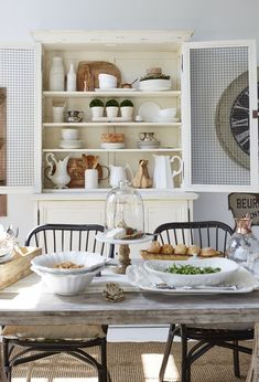 Showcasing whiteware, vintage pieces and collections adds to the laid-back, country home charm of classic farmhouse style.