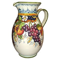 Italian Ceramic Art Pottery Painted Wine Pitcher Grape Made in ITALY Tuscan