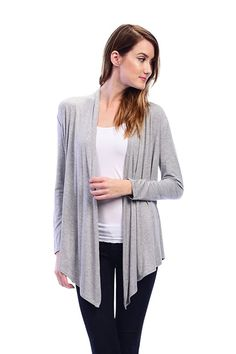 Flare Open Cardigan  Color-H.Grey  #cardigan #drap #basic #casial #solid #heathergrey
