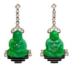Art Deco Carved Peking Glass Buddha Diamond Earrings | From a unique collection of vintage dangle earrings at https://www.1stdibs.com/jewelry/earrings/dangle-earrings/