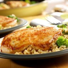 his easy skillet supper featuring chicken, broccoli and brown rice simmering in a creamy gravy is delicious and ready in a snap.