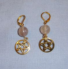 Smokey Quartz and Gold Tone Pentagram Earrings - Handmade Wiccan Item - FREE S&H with GIN
