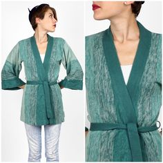 Vintage 1970s Heathered Ombre Teal Blue Green Belted Cardigan Knit Sweater with Bell Sleeves by The Emporium | Small/Medium by AnimalHeadVintage on Etsy