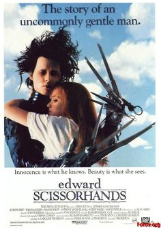 """1990. IMD trivia: Composer Danny Elfman said of all the films he's composed music for, Edward Scissorhands is his favorite. Vincent Price's last screen appearance and his last moment ever on screen is a death scene. Johnny Depp said only 169 words in this film; he lost 25 pounds for the role. The neighborhood was """"inspired"""" by Burton's home town, Burbank. The houses used in the film were a real community in Florida, completely unchanged except for their garish exterior paint."""
