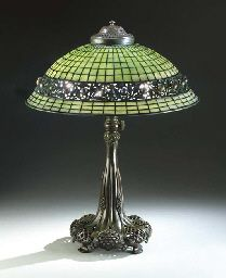 'JEWELED GEOMETRIC' LEADED GLASS AND BRONZE TABLE LAMP  TIFFANY STUDIOS, CIRCA 1910