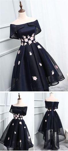 2017 Homecoming Dress Chic Black Asymmetrical Short Prom Dress Party Dress JK210