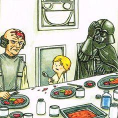 darth vader and son Star Wars Cartoon, Star Wars Jokes, Star Wars Comics, Star Wars Art, Lego Star Wars, Darth Vader And Son, Favorite Movie Quotes, Star War 3, Star Wars Characters