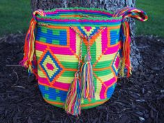 Handmade Large Multi-Colored Wayuu Mochila from Colombia (H025) on Etsy, $158.00