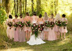 Mismatched blush and mauve bridesmaids dresses. September wedding means dahlias