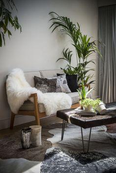 Cowhide rugs, cowhide cushions and luxe accessories: www. Cowhide Furniture, Cosy Corner, Hairpin Legs, Cow Hide Rug, Vintage Textiles, Hair Pins, Shag Rug, Cool Designs, Cushions