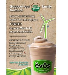 FREE Organic Milkshake at EVOS on 4/22 on http://hunt4freebies.com