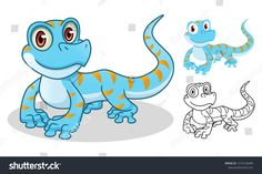 Gecko cartoon character mascot design, including flat and line art design, isolated on white background, vector clip art illustration. Line Art Design, Book Design, Ad Design, Graphic Design Illustration, Graphic Design Art, Happy Birthday Art, Children's Comics, Kids Toys For Boys, Mascot Design