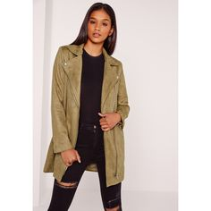 Missguided Bonded Faux Suede Biker Coat ($102) ❤ liked on Polyvore featuring outerwear, coats, khaki, faux suede coat, zip coat, motorcycle jacket, biker jacket and bike jerseys
