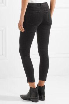 rag & bone - Cropped Velvet Skinny Pants - Black