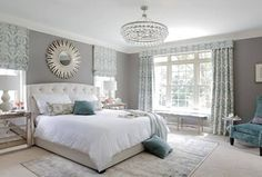 Transitional Master Bedroom with Coast to Coast Three Drawer Cabinet in Elsinore Silver and Mirror, Carpet, Chandelier