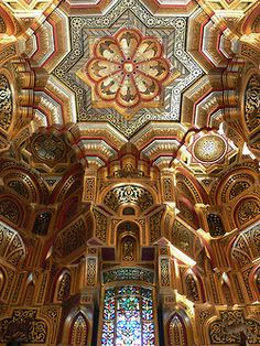 Arab Room ceiling inside Cardiff Castle, Wales (by flambard). #ornate