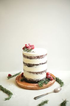 naked cake - for winter or Christmas - so pretty!