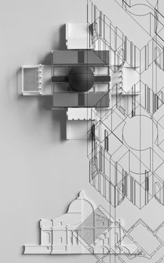 Architectural Drawings Palladio Virtual Exhibition / Peter Eisenman with the Yale School of Architecture - Image 5 of 6 from gallery of Palladio Virtuel Exhibition. Villa Rotonda Model overlaid with axonometric / Peter Eisenman and Matt Roman Architecture Graphics, Architecture Drawings, Architecture Portfolio, School Architecture, Interior Architecture, Architecture Diagrams, Installation Architecture, Architecture Collage, Peter Eisenman
