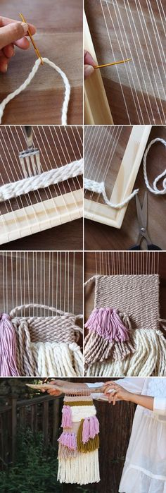 Woven Wall Hanging DIY Weaving Tutorial - make your own textile art using a makeshift loom made from an old photo frameDIY Weaving Tutorial - make your own textile art using a makeshift loom made from an old photo frame Weaving Textiles, Tapestry Weaving, Wall Tapestry, Diy Projects To Try, Craft Projects, Craft Ideas, Weaving Projects, Macrame Projects, Woven Wall Hanging