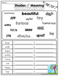 Shades of Meaning! TONS of other great printables!