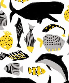 Desafinado, ophelia pang whales fish dolphins print and pattern