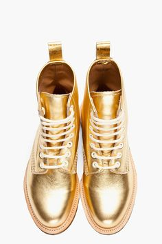 Dr. martens Metallic Gold 8eye Made in England Mie Boots in Gold | Lyst