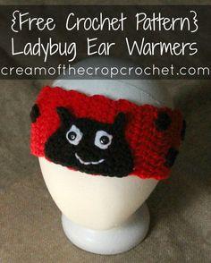 Crochet Headband Cream Of The Crop Crochet ~ Ladybug Ear Warmers {Free Crochet Pattern} Crochet Ladybug, Crochet Bee, Crochet Gifts, Crochet For Kids, Crochet Hooks, Free Crochet, Crochet Headbands, Crocheted Hats, Lady Bug